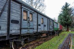 Disused railway carriages. A line of old, disused wooden railway carriages Royalty Free Stock Photo
