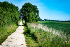 Disused railway line. Disused and abandoned railway line now used as a public footpath and cycle track through the countryside Royalty Free Stock Photo