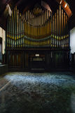 Disused Tin & Brass Pipe Organ - Abandoned Music Room in Mansion Royalty Free Stock Photo