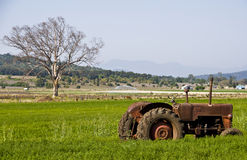 Disused Tractor In Field. Scenic Rim, Queensland Australia Stock Photography