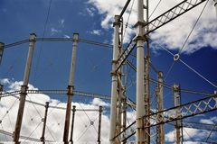 Disused Victorian gas holders Royalty Free Stock Images