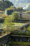 Disused water treatment works Stock Images