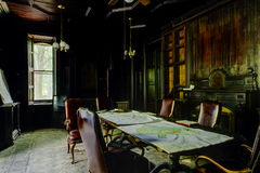 Disused Wood Paneled Library - Abandoned Mansion Stock Images