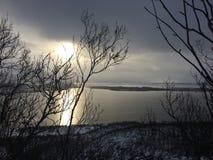 Dit beeld wordt genomen op een mooie winter'sdag in het Noorden van Noorwegen Stock Afbeeldingen