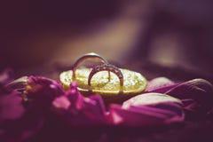 Dit is close-up van trouwringen in decorboeket Royalty-vrije Stock Afbeeldingen