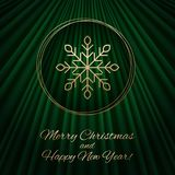 Dit is een groene en gouden Kerstmisachtergrond royalty-vrije illustratie