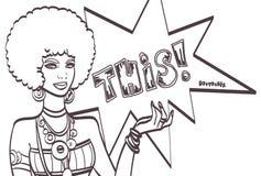 DIT, pop-artgezicht Prachtige sexy Afrikaanse vrouw met toespraakbel Vector kleurrijke achtergrond in pop-art retro grappig Stock Foto