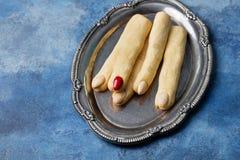Dita di Witchs dei biscotti per la celebrazione di Halloween Fotografia Stock Libera da Diritti