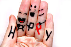 Dita felici con rosso ed il nero Immagini Stock Libere da Diritti