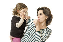 Dita, mamma e bambino. fotografie stock