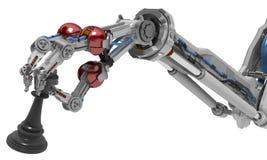 Dita robot del braccio tre, pezzo degli scacchi Fotografie Stock Libere da Diritti