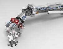 Dita robot del braccio tre, pezzo di puzzle Fotografie Stock