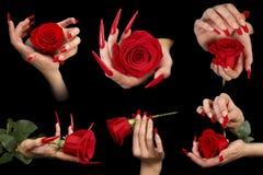 Dita umane con l'unghia lunga e bello il manicure isolati sul nero Fotografia Stock Libera da Diritti