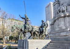 Ditail of the Cervantes monument,  on the Square of Spain. Madri Royalty Free Stock Image