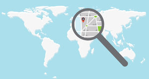 Ditail map onder magnifier. World map and direction with pin under magnifier Stock Photography