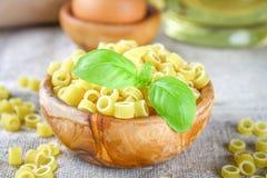 Ditalini macaroni. Pasta rings. Tubettini and thimbles. Anellini. Royalty Free Stock Photo