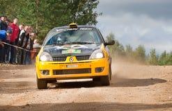 Ditaliy Sochov drives a black and yellow Renault C Stock Image