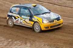 Ditaliy Sochov drives a black and yellow Renault C Stock Images