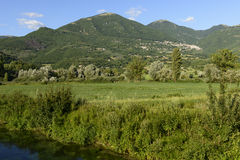 Ditch bank in green countryside near Poggio Bustone, Rieti valle Royalty Free Stock Photography