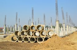 Ditch in construct site and blue sky. Of thailand Stock Photo