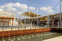 Ditch and Decumano, EXPO 2015 Milan. MILAN, ITALY - July 09: EXPO 2015, view of ditch with water gushes near main walk at exhibition, shot on jul 09 2015 Milan royalty free stock photos