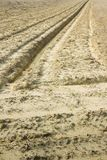 Ditch in a field in a plowed field Stock Image