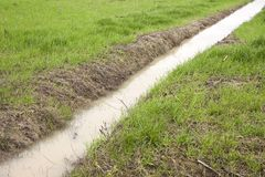 Ditch in a field Royalty Free Stock Images
