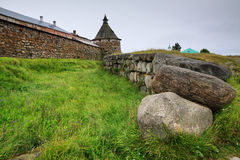 The ditch in front of a wall of Solovetsky monastery Stock Images
