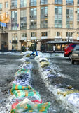Ditch of ice on the streets of Kyiv Stock Images