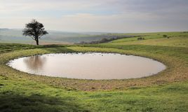 Ditchling beacon dew pond on the south downs way. Dew pond at ditchling beacon on the south downs way stock photography
