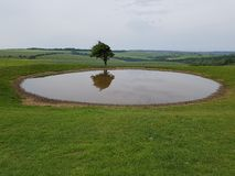 Ditchling Beacon. Dew pond South Downs Way Stock Image