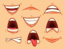 Dites les émotions du bout des lèvres du sourire et fâché, cri perçant illustration libre de droits