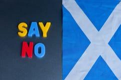 Dites non à l'indépendance écossaise Photos stock