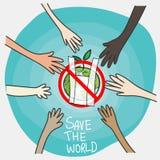 Dites non aux sachets en plastique concept, style de bande dessinée coopération des personnes dans différentes nationalités avec  illustration libre de droits