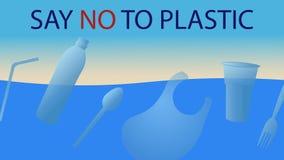 Dites non dans les tasses en plastique, plats, paquet, bouteilles illustration libre de droits