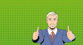 Dito del pollice del punto dell'uomo di affari su Art Colorful Retro Style illustrazione di stock