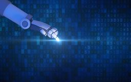 Dito del robot che indica con la luce isolata sul codice di dati del computer royalty illustrazione gratis