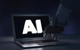 Dito del robot che tocca un computer portatile con il testo di AI artificiale royalty illustrazione gratis