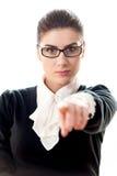 Dito della donna di affari che indica voi Immagini Stock