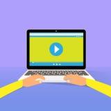 Dito della mano del videoproiettore dell'orologio del computer portatile royalty illustrazione gratis