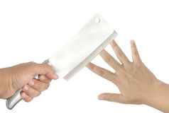 Dito di taglio del coltello della mano Immagine Stock Libera da Diritti