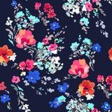 Ditsy水彩样式花卉图案-无缝的背景 库存图片