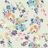 Ditsy水彩样式花卉图案-无缝的背景 库存照片