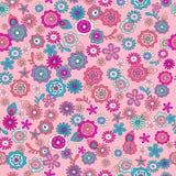 ditsy blommor pink beträffande seamless Arkivbild