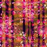 Ditsy-Blumen mit Kontrollen und Streifen Nahtloses Muster Stockfoto