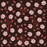 Ditsy floral endless pattern. Tiny roses and small cosmos flowers, petals and leaves on dark brown background. Print for fabric royalty free illustration