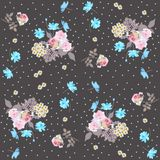 Ditsy floral pattern with roses, daisies, forget me not and cosmos flowers. vector illustration