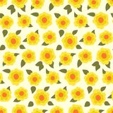 Ditsy floral pattern with small daffodils. On yellow background. Seamless vector texture for print, spring summer fashion, textile design, flower shop website Royalty Free Stock Image
