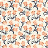 Ditsy floral pattern with small red tulips Stock Images