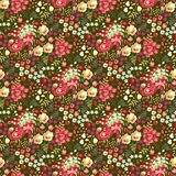 Ditsy floral seamless pattern in russian style. Cute fairy peacocks, leaves, roses, tulips flowers on dark green background vector illustration